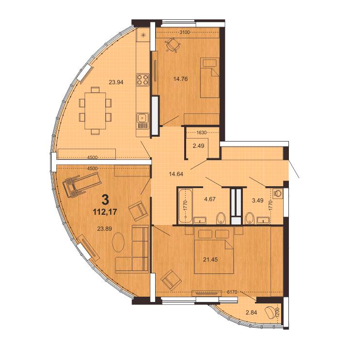 Трехкомнатная квартира в Рязани 112.17 м² на 11 этаже в ЖК Паруса, корпус 3, №94. Купить за 7 116 000 руб.